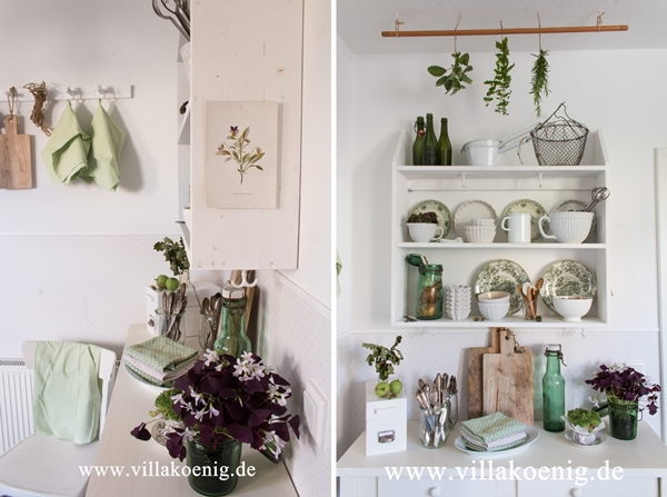 Küche grün weiß dekoriert
