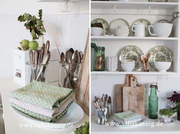 Küche grün weiß