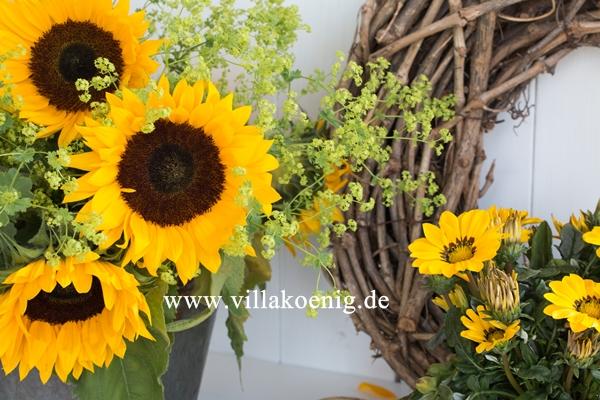 Herbstliche Dekoration mit Sonnenblumen und Mittagsgold