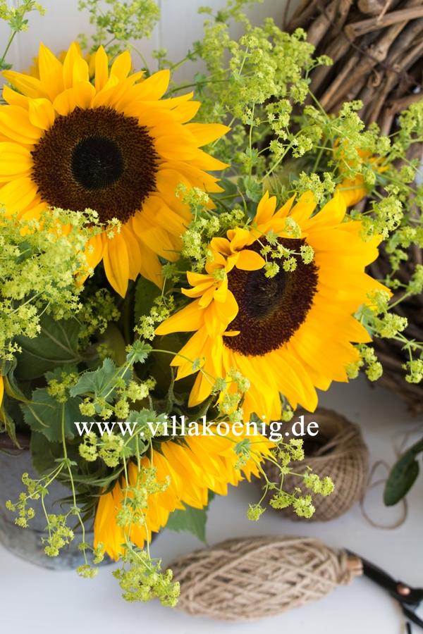 Sonnenblumen mit Frauenmantel in altem Zinkeimer
